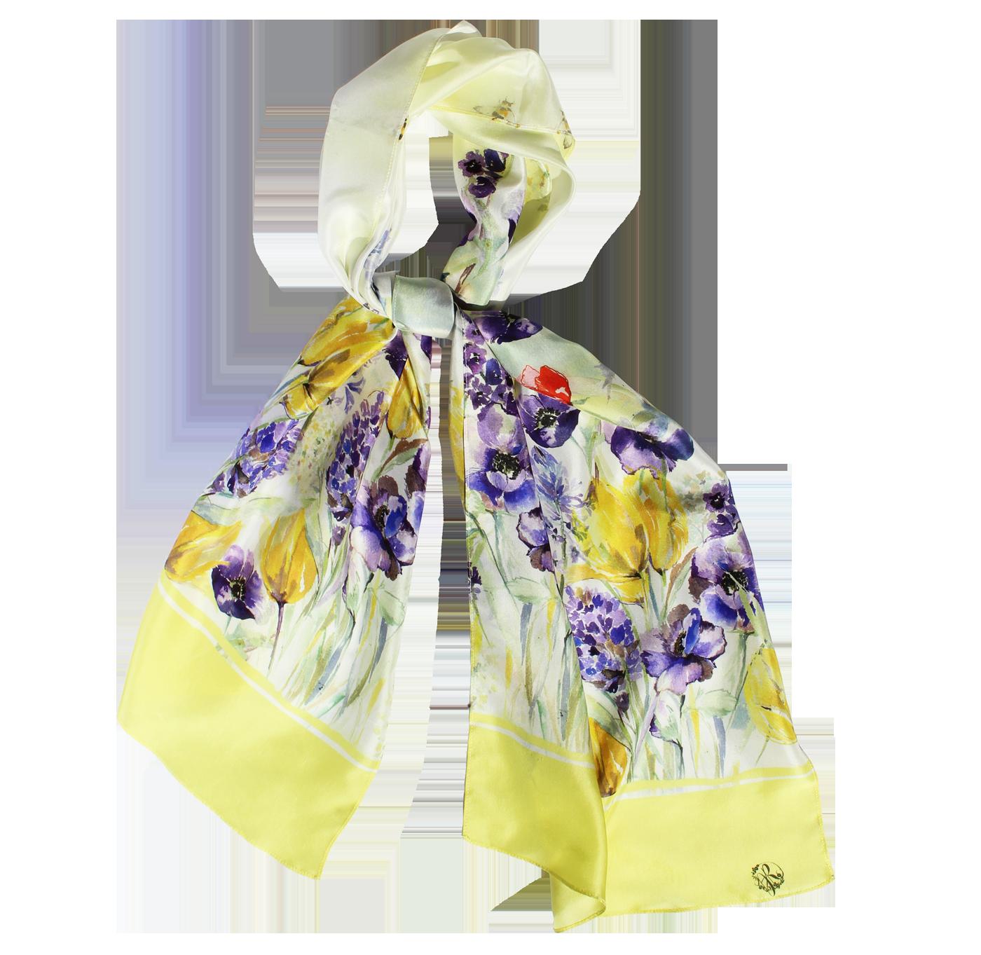 Flora Long Silk Scarf