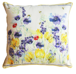 Flora Bees Silk Cushion
