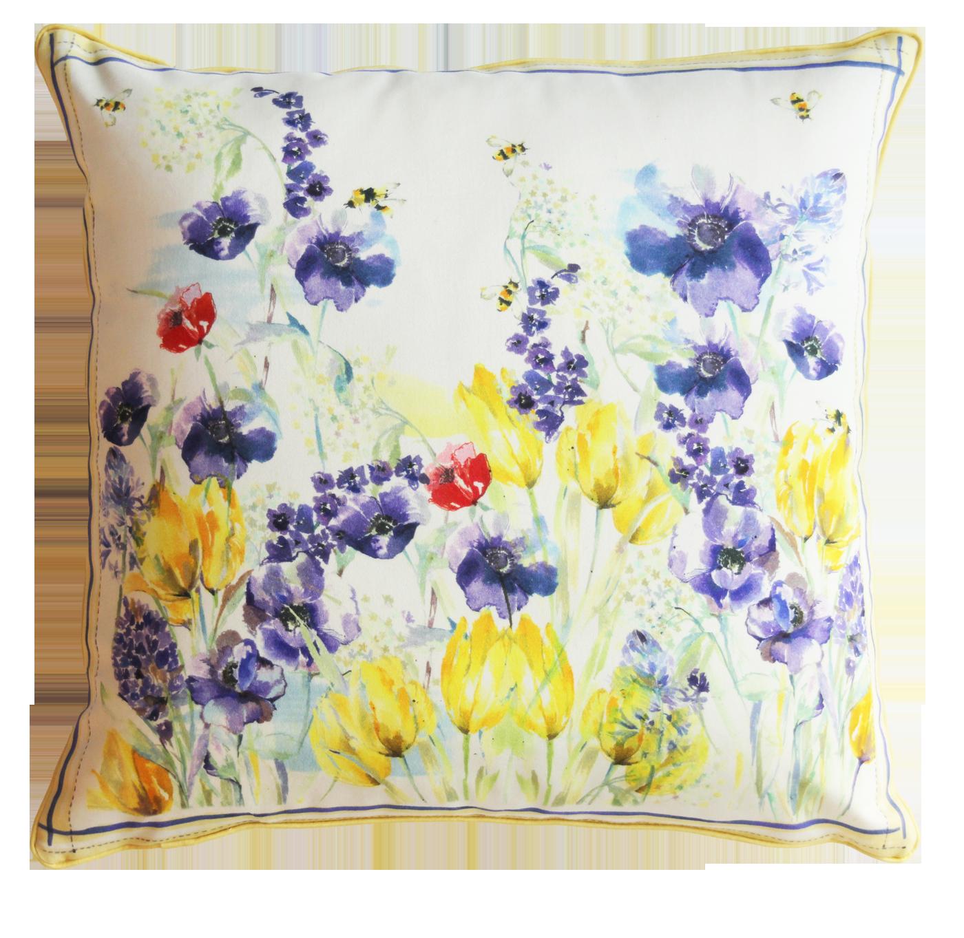 Flora Bees Silk Cushion