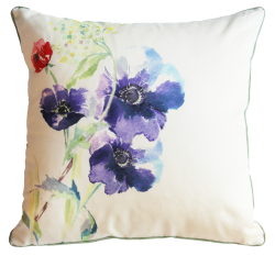 Flora Poppy Silk Cushion